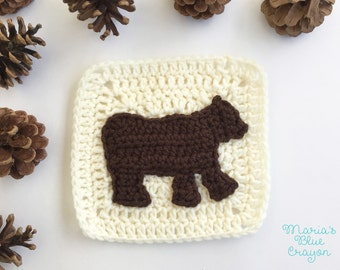 Woodland Bear Granny Square Crochet Pattern - Woodland Afghan Series