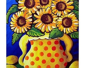 Sunflowers In Yellow With Lemons  Fun Colorful  Whimsical Folk Art Ceramic Tile