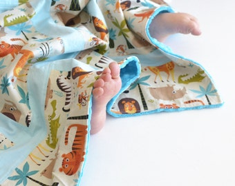 Baby Blanket, Small Patchwork Blanket with Minky for Baby Boy Zoo Animals