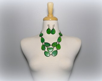 Green Tagua Nut Bib Statement Eco Friendly Necklace and Matching Earring Set with Free USA Shipping#taguanut #ecofriendlyjewelry