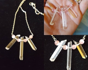 Pink cats eye & quartz crystals point necklace