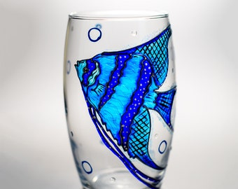 Wedding Glasses, Beach Wedding Wine Glasses Sea, Hand Painted Fish Wine Glass, Personalized Stemless Wine Glass