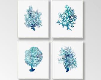 Nautical Prints, Set of 4, Digital Nautical Art, Corals Printable, Nautical Decor, Sea Wall Art, Large Printable, Turquoise Coral, Ocean Art