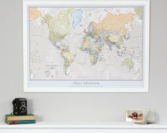 Classic world map home decor living room bedroom wall personalised classic world map pinboard gift vintage personalised gift for him gift for her free shipping home decor living room gumiabroncs Choice Image
