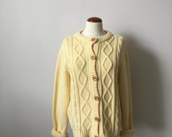 Vintage 70s, 1970s cable knit cardigan sweater, comfy sweater, button down, L