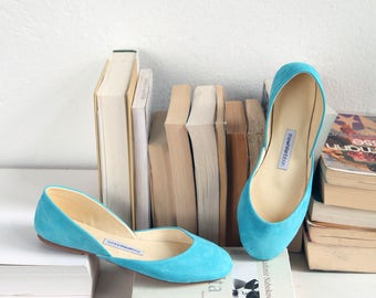 The Nubuck Ballet Flats in Alice Blue | Something Blue | Pointe Style Shoes | Classic Model | Standard Width | Alice Blue | Ready to Ship