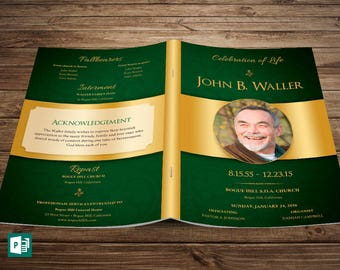 Green Regal Funeral Program Publisher Template