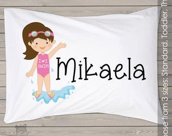 I love to swim pillowcase / pillow - custom personalized  pillowcase great birthday gift PIL-063