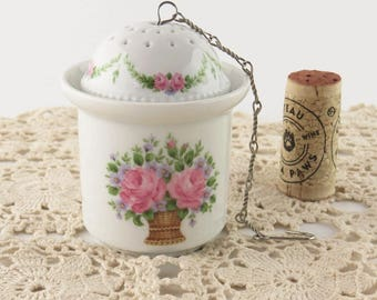 Vintage 3 piece Tea Ball with Caddy, Porcelain W Germany Kaiser Tea Marseille Infuser Strainer, Pink Roses Garland Basket