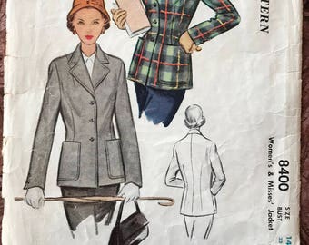 """Vintage McCall 1950's Blazer Jacket Pattern  # 8400 -  Tailored, Fitted, Button-Ftont, Wide Lapels, Hip Patch Pockets - Size 14, Bust 32"""""""