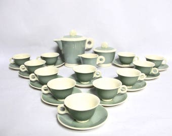 French Art Deco Digoin Coffee Set, Tea Set, Cups and Saucers Art Deco Green