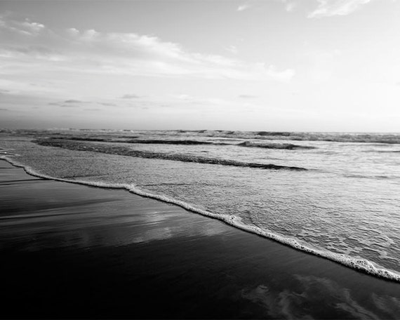 Black and white beach photography ombre grey white black