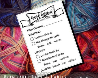 """Care Instruction Printable PDF Cards for Knitters """"Hand Knitted with love and care"""" Labels for Handmade Knit Crafts - Great for Craft Shows"""