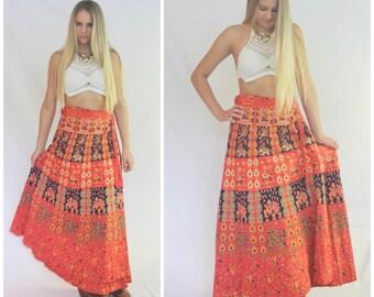 Vintage 70's Coral Red Indigo Navy Block Print India Cotton Wrap Maxi Wrap Around Skirt Ethnic Boho Hippie