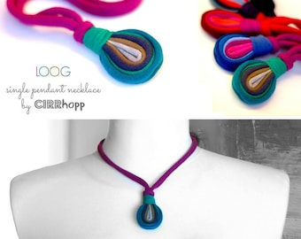 Upcycled LOOG fiber necklace/purple-green-khaki-grey/Recycled/Handmade colorful/Repurposed material/Soft/Eco friendly/Jersey stripes