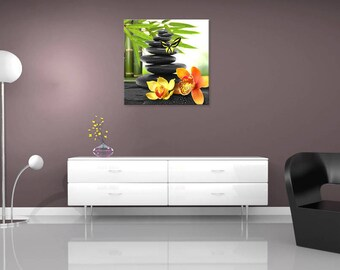 Modern Zen Pebble Orchid, wall painting, digital art painting
