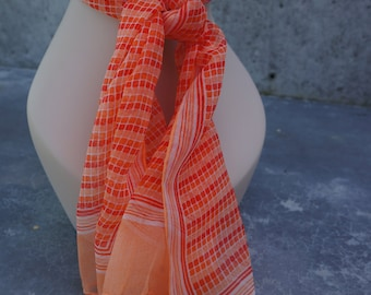 Vintage Retro Chiffon Scarf in Orange / Geometric Shape / Orange Scarf