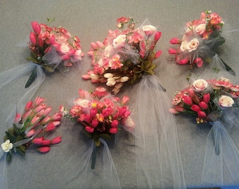 12 pc. Bridal Bouquet Set silk wedding flowers Pinks Corals and Cream colors