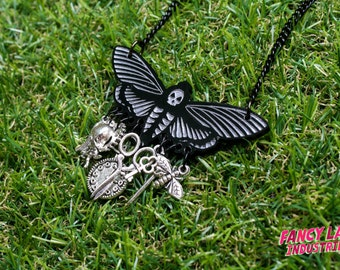 Halloween Death's Head Moth Chatelaine Necklace with Charms, Laser Cut Jewelry, Charm Necklace, Steampunk Necklace, Goth Necklace