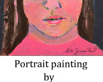 Acrylic Girl Portrait Painting. Original Art. Miniature Painting. Small Gift for her Apartment Wall Decor.