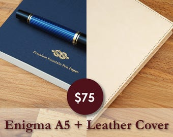 A5 Leather Cover + Enigma A5 V4 Tomoe River Paper Notebook Combo Deal