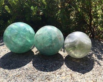 Multiple Size Natural Fluorite Crystal Balls