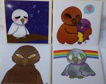 Set of 4 Coasters - Owls