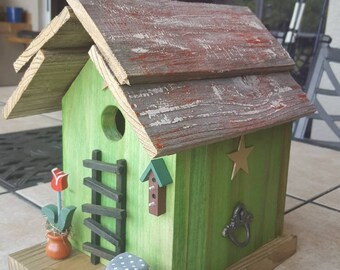 Beautiful green cottage Bird House