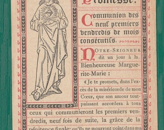 Antique French HOLY Card, JESUS, the great Promise, Dated 1882, Religious