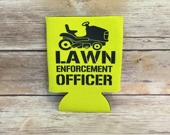 Lawn Enforcement Officer Father's  Day Funny Lawnmower Tractor Can Cooler Beverage Holder Drink Hugger Yellow Black