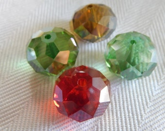 Four 13MM Rondelle Beads - Crystal Beads - Faceted Beads