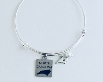 North Carolina Bracelet, North Carolina Jewelry, North Carolina Gifts, Carolina Bracelet, North Carolina State Bracelet, Handmade NC Jewelry