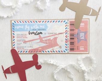 Vintage Airplane Boarding Pass Birthday Invite