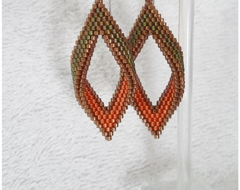 Green and orange peyote stitch Miyuki Delica earrings aretes handmade jewelry sterling silver hooks