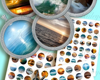 """1 """"(25mm) and 1.5"""" (38mm) size printable circular pictures, photos sea ocean,digital for glass resin pendant jewelry 48 different designs"""