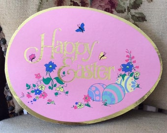 Vintage 1960s 1970s Box Easter Candy Box *Happy Easter* Pink Box Colored Eggs Flowers (EMPTY BOX) Scrap Booking Paper Ephemera
