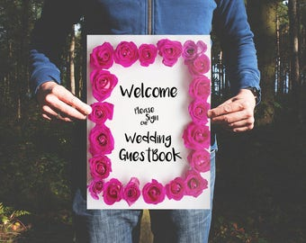 Pink Rose Wedding Guest Book Sign
