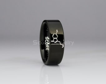 8mm Black Tungsten Band with Flat Edge Serotonin Molecule, Physics Ring, Chemistry Ring, Science Teacher Ring Laser Engraved - Tungsten Ring