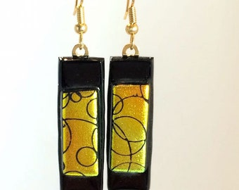 Dangling Earrings Dichroic Glass Gold Black Etched Circles