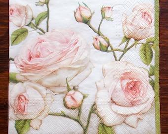 Paper napkins etsy paper napkins pink roses napkin flower paper napkin decoupage napkins flower serviette pink roses serviette floral mightylinksfo