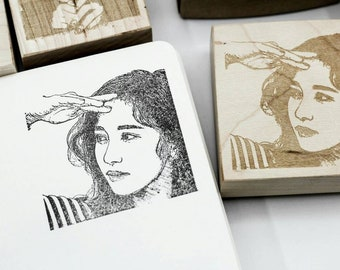 Custom portrait stamp Personalized gift Illustrated art