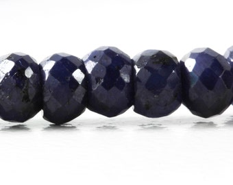 Blue Sapphire Faceted Rondelles, AAA 4.8mm to 5.6mm Your Choice 2, 4, 5, 10, 15 or 20 Gem Stones, Faceted Blue Sapphire, Sept. Birthstone KJ