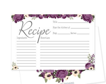 rustic bridal shower recipe card printable recipe card floral bridal shower decorations bridal recipe cards nora collection