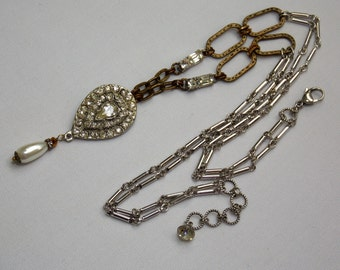 Vintage Assemblage Necklace with Rhinestones and Pearls