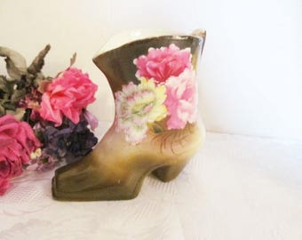Hand Painted Porcelain Boot Planter Vase Floral