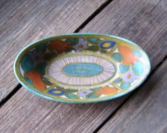 Gouda Art Pottery Dish, Bowl, Riviera Design,  Circa 1923, Arts and Crafts, Art Deco, Bungalow Style