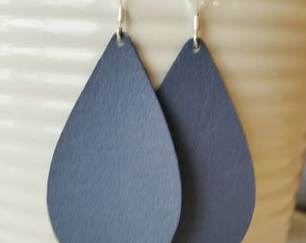 Navy Blue Leather Earrings/ Teardrop