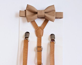 Boys Brown Bow Tie Leather Suspenders, Rustic Wedding, Boys Suits, Wedding Bow Tie, Suits, Fall Wedding, Ring Bearer Outfit, Baby Boy Bowtie