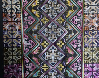 Laos tribal embroidered cloth,crossstitch