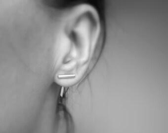 Silver Ear Jacket. Silver Bar Earrings